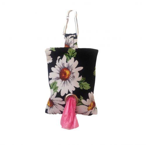 white daisy on black poop bag holder
