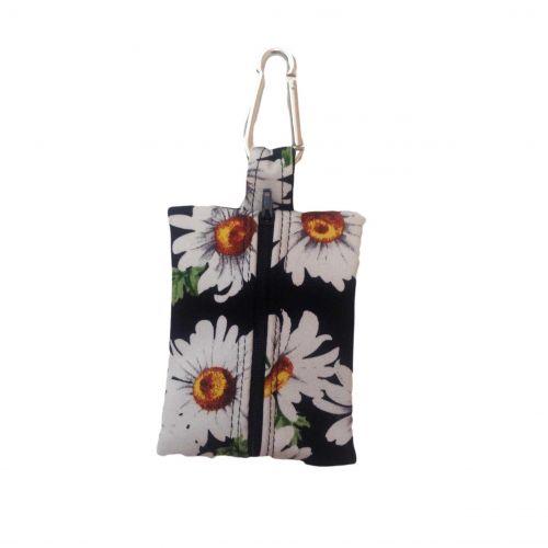 white daisy on black poop bag holder - empty back