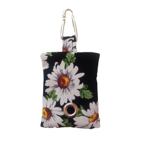 white daisy on black poop bag holder - empty front