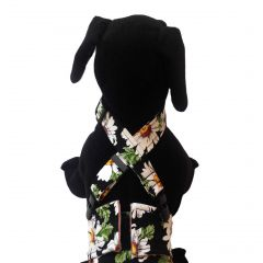 White Daisy Flower on Black Adjustable Suspender to Keep Dog Diapers On