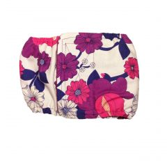 Purple Flower on White Washable Dog Belly Band Male Wrap