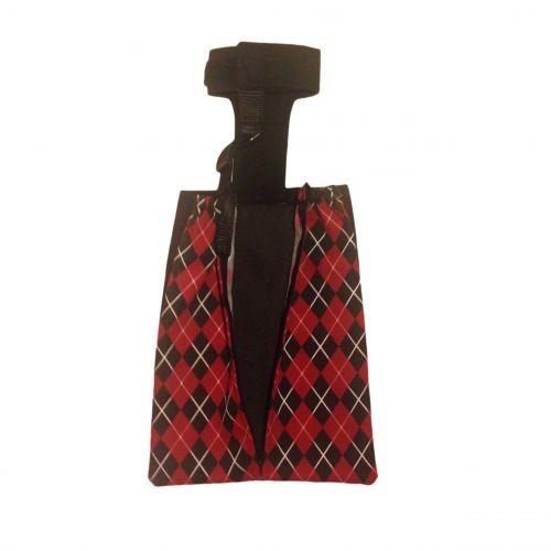 red argyle drag bag - open
