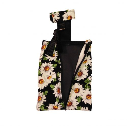 white daisy flower on black drag bag - open