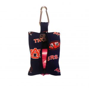 Dog Poop Bag Dispenser made from Auburn University Tigers fabric