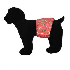 Paris Eiffel Tower on Pink Washable Dog Belly Band Male Wrap