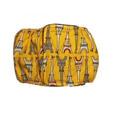 Paris Eiffel Tower on Yellow Washable Dog Belly Band Male Wrap