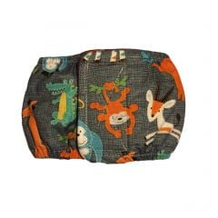 Jungle Buddies on Gray Washable Dog Belly Band Male Wrap