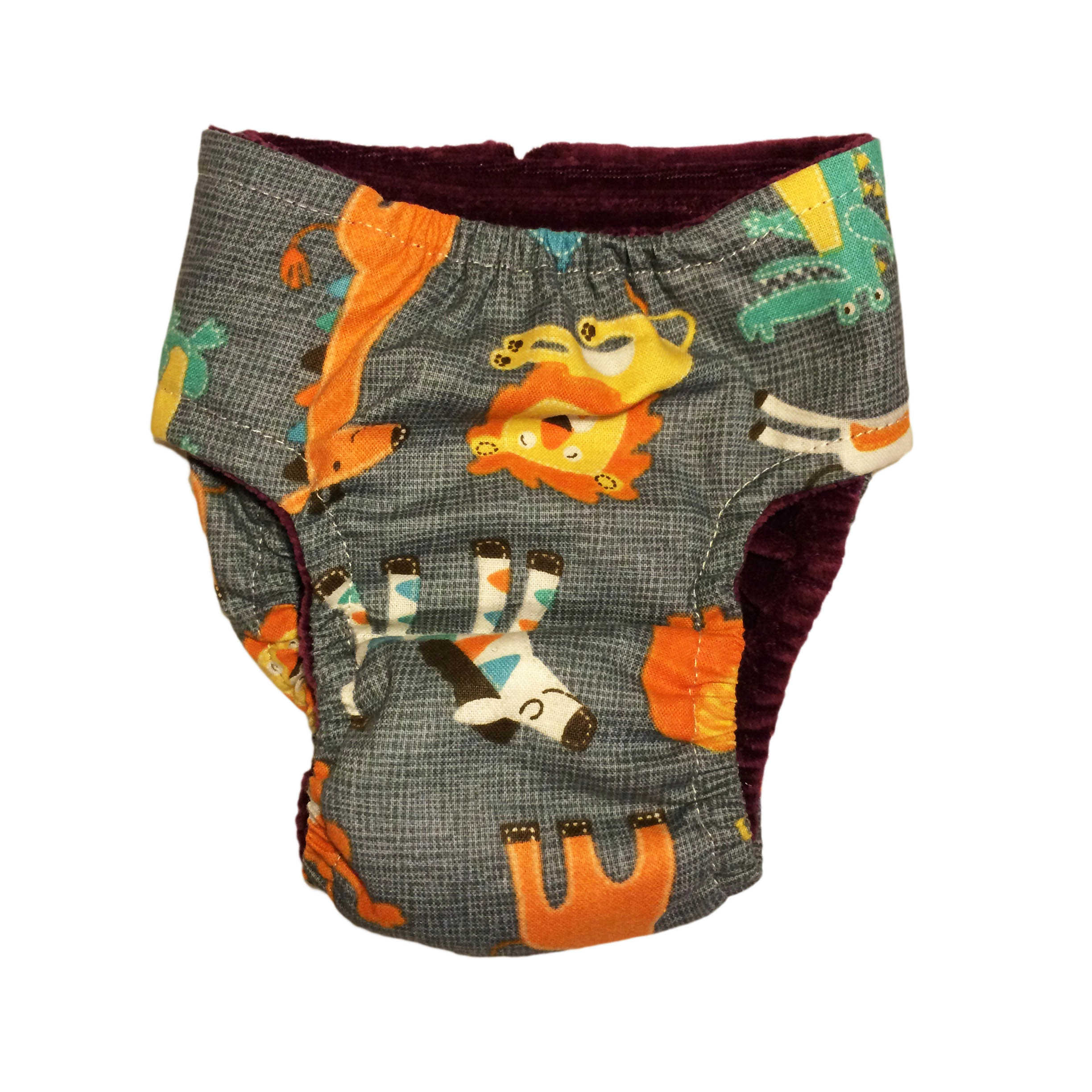 Barkertime Jungle Buddies On Gray Washable Cat Diaper