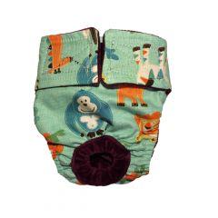 Jungle Buddies on Teal Washable Dog Diaper