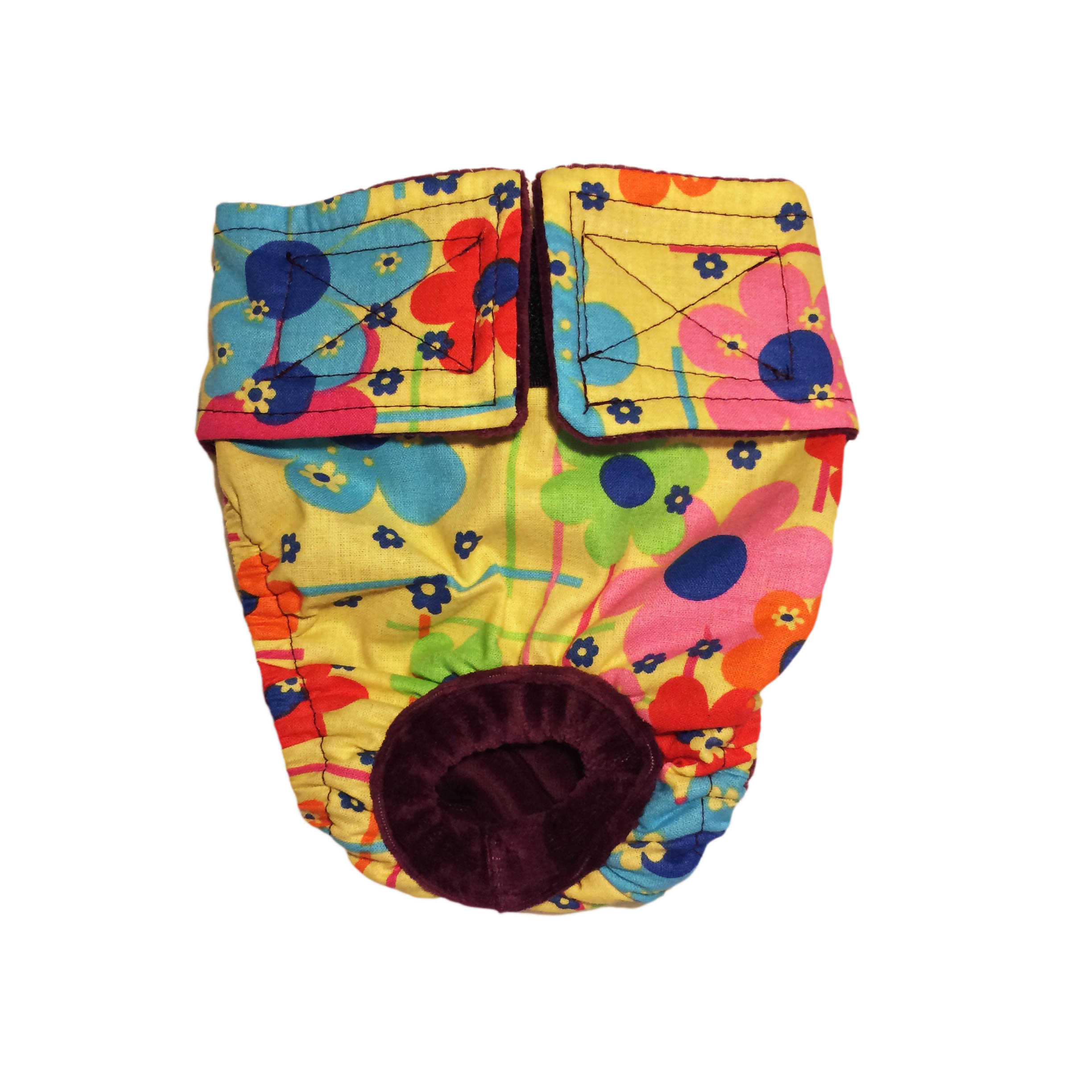 Barkertime Lucky Flowers On Yellow Washable Cat Diaper