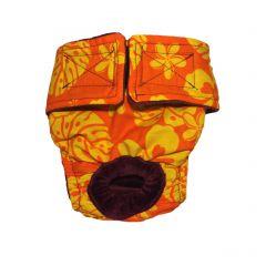 Orange Hawaiian Hibiscus Washable Cat Diaper