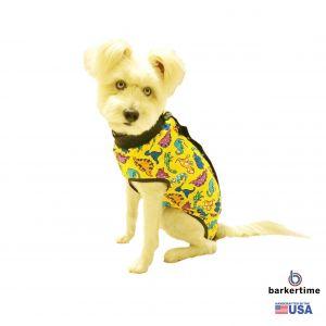 Dinosaur on Yellow PeeJama E-Collar Alternative Recovery Suit