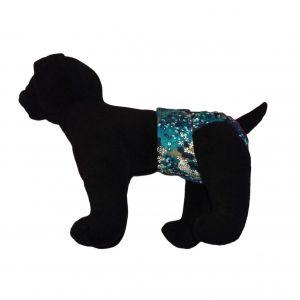 Turquoise Flower Washable Dog Diaper