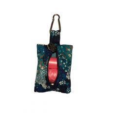 Turquoise Flower Dog Poop Bag Dispenser