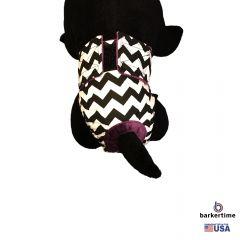 Black Chevron on White Washable Cat Diaper