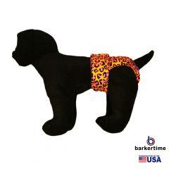 Orange Hot Pink Leopard Washable Dog Diaper