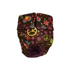Peace and Love on Brown Washable Cat Diaper
