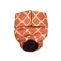 Salmon Orange Quatrefoil Washable Cat Diaper