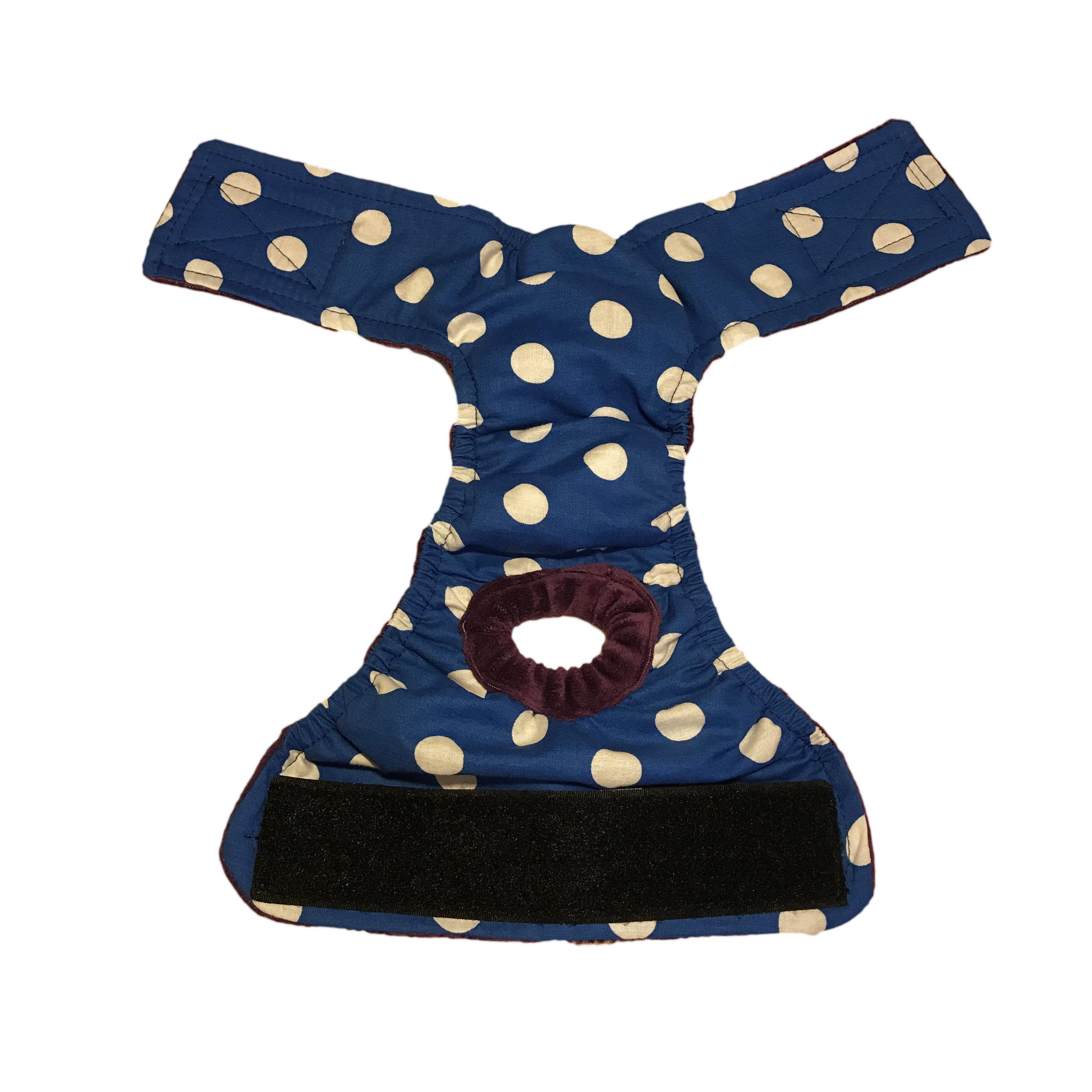 Barkertime White Polka Dot On Blue Washable Cat Diaper