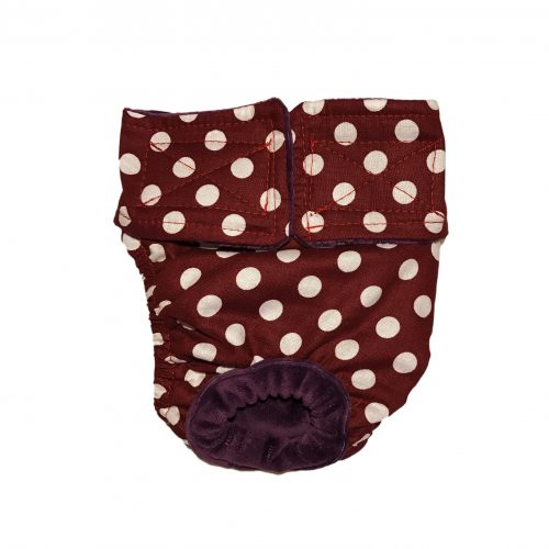 white-polka-dot-on-dark-brown-diaper