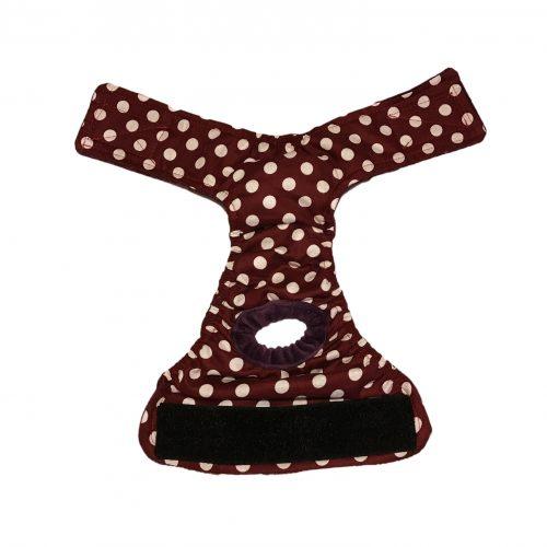 white-polka-dot-on-dark-brown-diaper-open