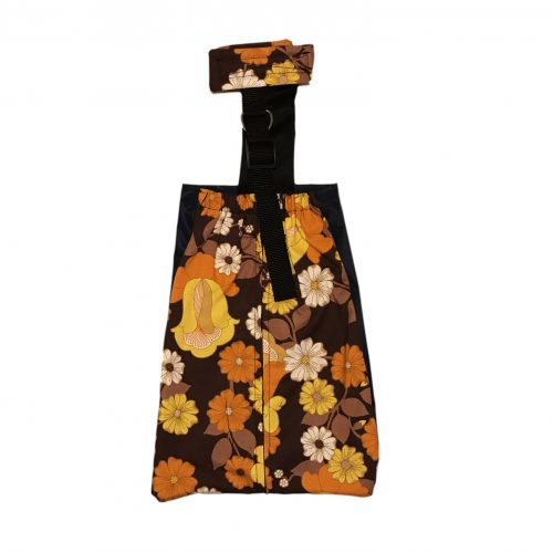 brown and yellow flowers drag bag