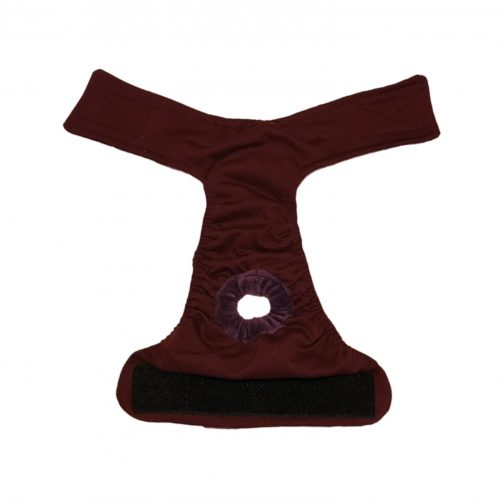 burgundy diaper – open