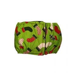 Christmas Stockings on Green Washable Dog Belly Band Male Wrap