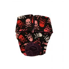 Red and White Crossbones on Black Washable Cat Diaper