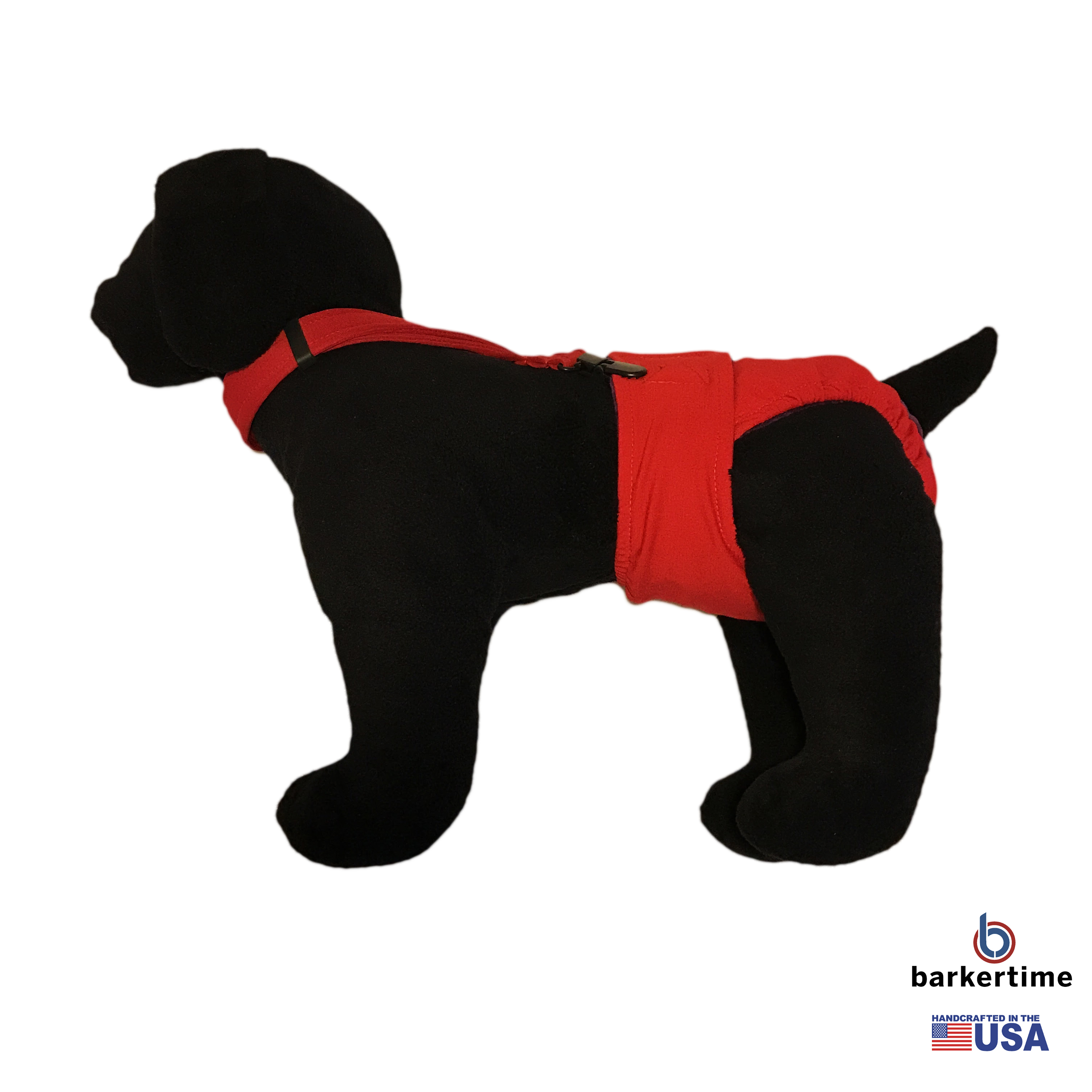Barkertime Red Adjustable Suspender To Keep Dog Diapers On