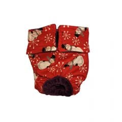 Snowman and Snowflakes on Red Washable Dog Diaper
