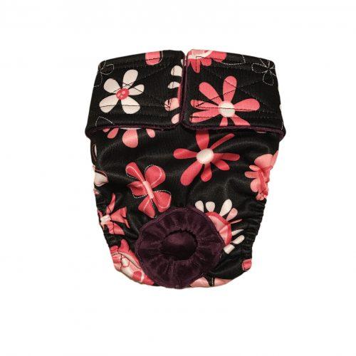 pink floral on black pul diaper