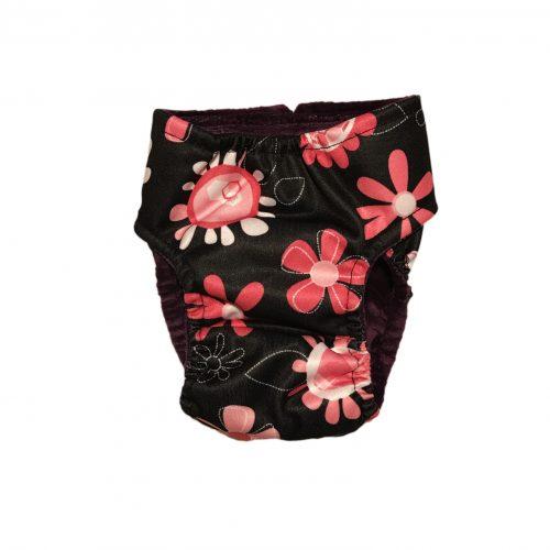 pink floral on black pul diaper - back