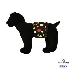 Colorful Polka Dot on Black Washable Dog Belly Band Male Wrap