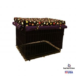Colorful Polka Dot on Black Pet Crate Cover