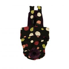 Colorful Polka Dot on Black Escape-Proof Washable Dog Diaper Overall