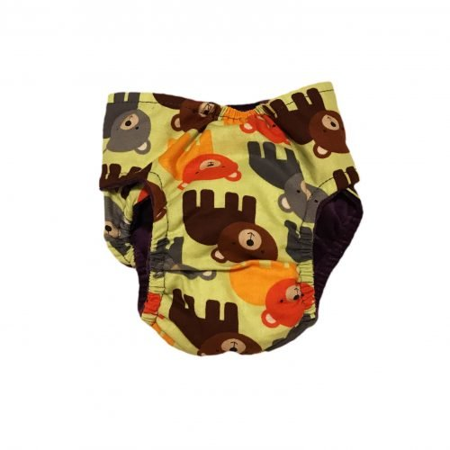 happy bear on green diaper - back