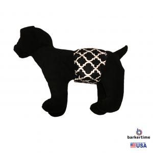 White Quatrefoil on Black Washable Dog Belly Band Male Wrap