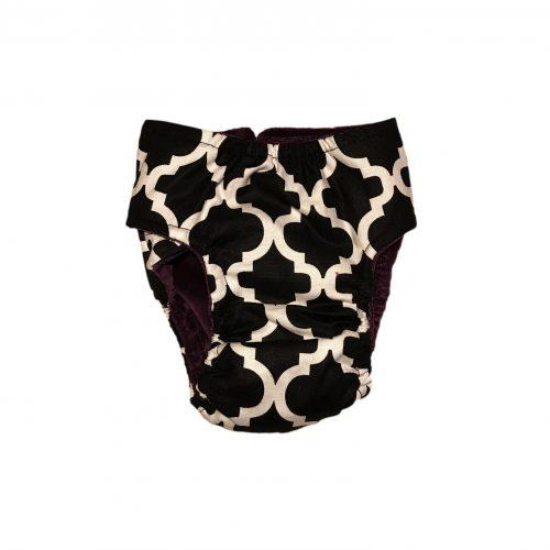 white quatrefoil on black diaper - back