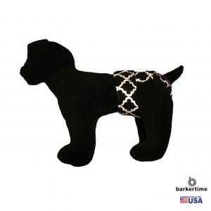 White Quatrefoil on Black Washable Dog Diaper