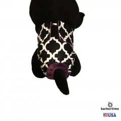 White Quatrefoil on Black Washable Cat Diaper