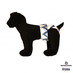 Blue Chevron Minky Washable Dog Diaper