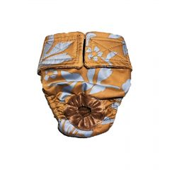 Blue Hawaiian Hibiscus Flower on Brown Washable Dog Diaper