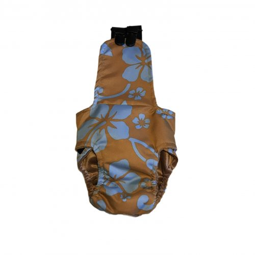 blue hawaiian hibiscus flower on brown diaper overall – back