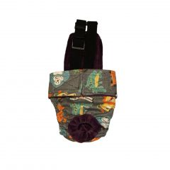Forest Buddies on Gray Escape-Proof Washable Dog Diaper Overall
