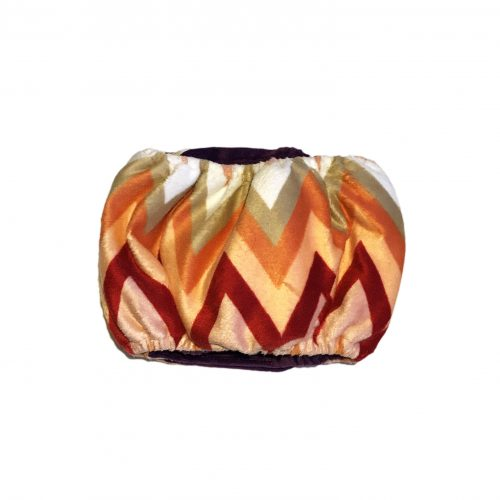 orange and red chevron minky belly band – back