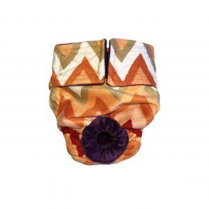Orange and Red Chevron Minky Washable Dog Diaper