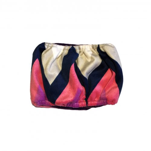 pink and blue chevron minky belly band – back
