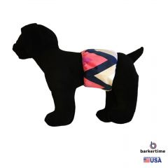 Pink and Blue Chevron Minky Washable Dog Belly Band Male Wrap