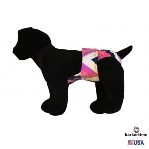 Pink and Blue Chevron Minky Escape-Proof Washable Dog Diaper Overall